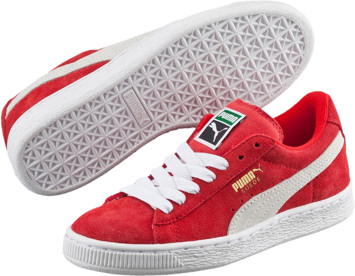 Кеды детские Puma Suede Jr, цвет: красный. 355110037. Размер 3,5 (35)355110037Без сомнения самая известная и популярная модель PUMA произвела в своё время настоящую революцию в мире спортивной обуви, заслуженно войдя во все возможные залы славы. Везде и всегда Suede от PUMA в самой гуще исторических событий! В культурном смысле эта модель стала первой ласточкой вплеснувшегося на улицы брейк-данса и хип-хопа. И в этом сезоне она возвращается! Культовая модель Suede Classic представлена сегодня в традиционном варианте с верхом из мягкой замши насыщенных цветов и нарядным сплошным белым рантом с прошивкой. На месте и оригинальный логотип PUMA. Кроме того, точные копии знаменитых кед Suede Classic выпускаются в детской шкале размеров.