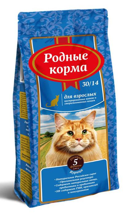 Корм сухой Родные Корма, для взрослых стерилизованных кошек, 2,045 кг66388Ингредиенты: обезвоженное мясо птицы 32%, кукуруза, пшеница, жир куриный, пшеничные волокна, печень гидролизованная, дрожжи, жир лососевый, пробиотический комплекс: Bacillus subtillis, Bacillus licheniformis, лизин, DL-метионин, минеральные вещества, Юкка Шидигера, клюква сушенная, антиоксиданты, комплекс витаминов, таурин.Гарантируемые показатели питательной ценности:Протеин — 30%, жиры – 14%, зола – 6%, клетчатка – 3%, кальций — 1,1%, фосфор – 0,8%, влажность не более — 10%, витамины: А – 12 000 МЕ/кг, Д3 — 1100 МЕ/кг, Е — 300 мг/кг.Энергетическая ценность: 3860 ккал/кг.Рекомендации по применению: корм подается в сухом виде или размоченный в теплой воде. У животного всегда должен быть доступ к свежей питьевой воде. Корм следует вводить в рацион постепенно в течение 7-10 дней.Рекомендуемое количество сухого корма в день, гр Вес взрослого животного, кг Норма кормления ,гр 1-2 32-47 2-3 47-72 4-5 95-115 6-7 118-136 8-10 140-158Рекомендуемое количество корма в день является ориентировочным и может меняться в зависимости от индивидуальных особенностей животного, времени года и физической активности.Условия хранения: хранить в сухом месте при температуре 0 +35С и относительной влажности воздуха не более 75% . Беречь от солнечных лучей и влаги.Срок годности: 18 месяцев с даты выработки.Корм не содержит искусственных красителей, ароматизаторов, ГМИ.ГОСТ Р 55453-2013Произведено:ООО «Лимкорм»309290, Белгородская обл, г. ШебекиноРжевское шоссе 29А.Знаки на упаковку: РСТ, петля мебиуса, беречь от влаги и солнечных лучей.