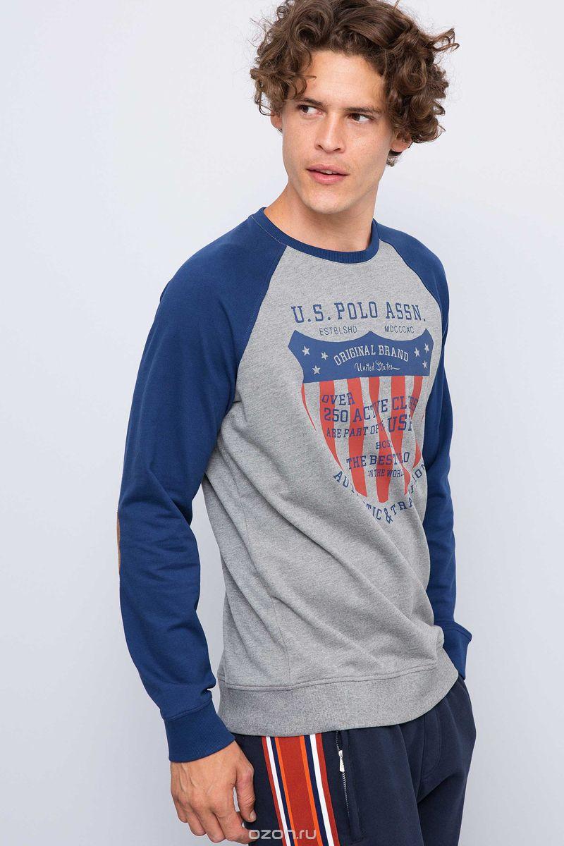 Свитшот мужской U.S. Polo Assn., цвет: серый. G081GL0820JAIRO. Размер L (52)G081GL0820JAIRO