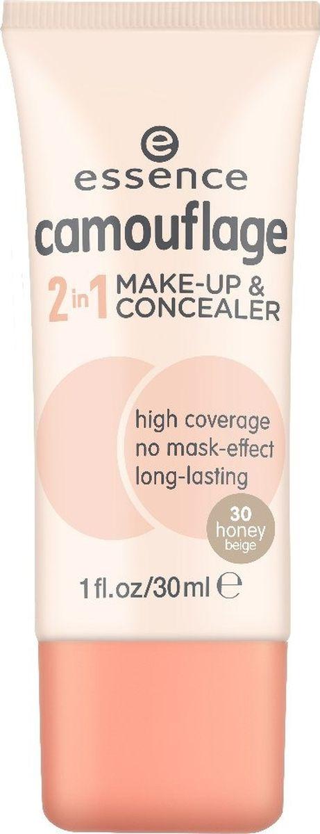 Essence Основа тональная и консилер 2 в 1 camouflage 2in1 make-up & concealer honey beige т.30, 30 мл59230Текстура нового средства 2 в 1 позволяет создать стойкий макияж с плотным покрытием, которое надежно замаскирует все несовершенства кожи. Матовая идеальная кожа без эффекта маски – теперь это реально!