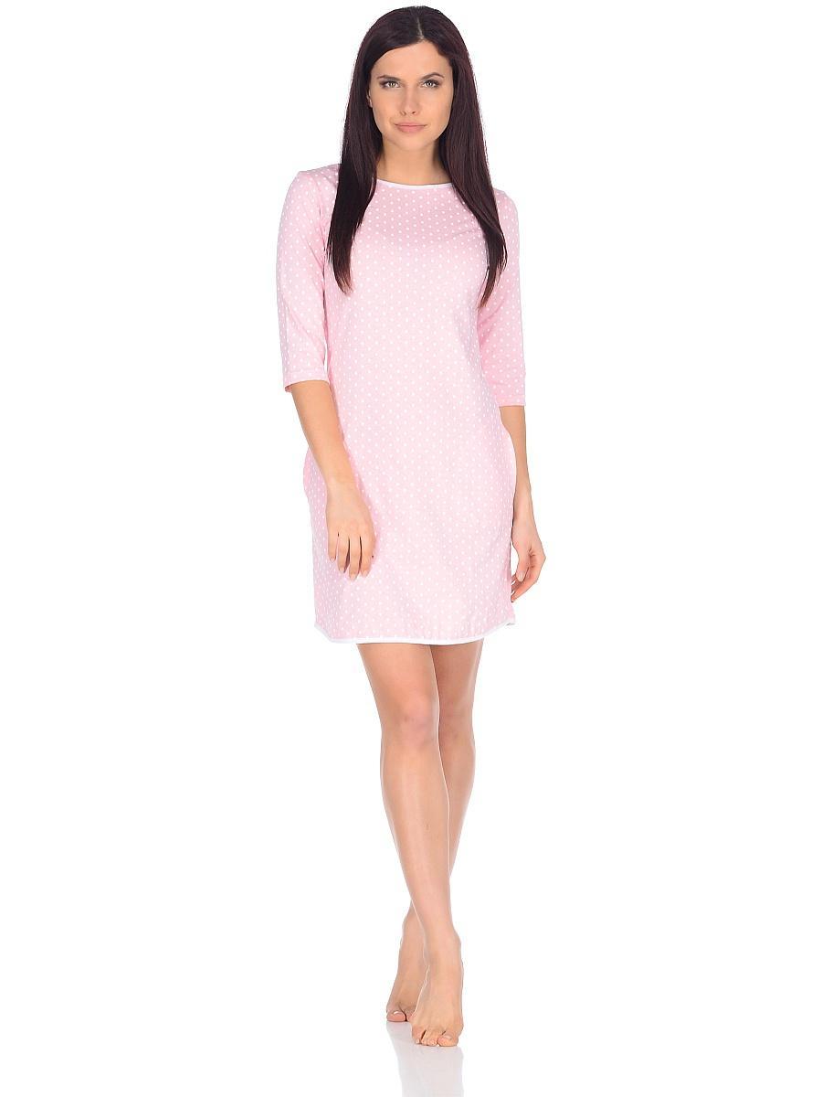 Платье домашнее женское Letto, цвет: розовый. TFdm002. Размер 48TFdm002Домашнее слегка приталенное платье с двумя боковыми карманами и рукавом 3/4. Отлично подойдет для повседневного использования дома или на даче.