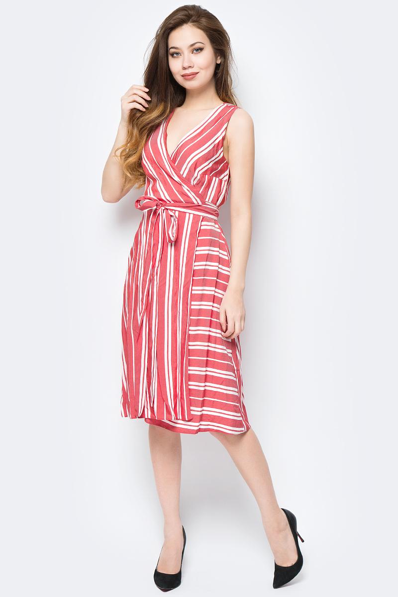 Платье adL, цвет: красный. 12433621000_006. Размер S (42/44)12433621000_006Яркое платье adL, оформленное принтом в полоску, поможет создать стильный образ и привлечь внимание окружающих. Мягкая ткань на основе тенсела и вискозы приятна на ощупь и комфортна в носке. Модель миди-длины с запахом подойдет для прогулок и дружеских встреч и сделает ваш образ неповторимым.