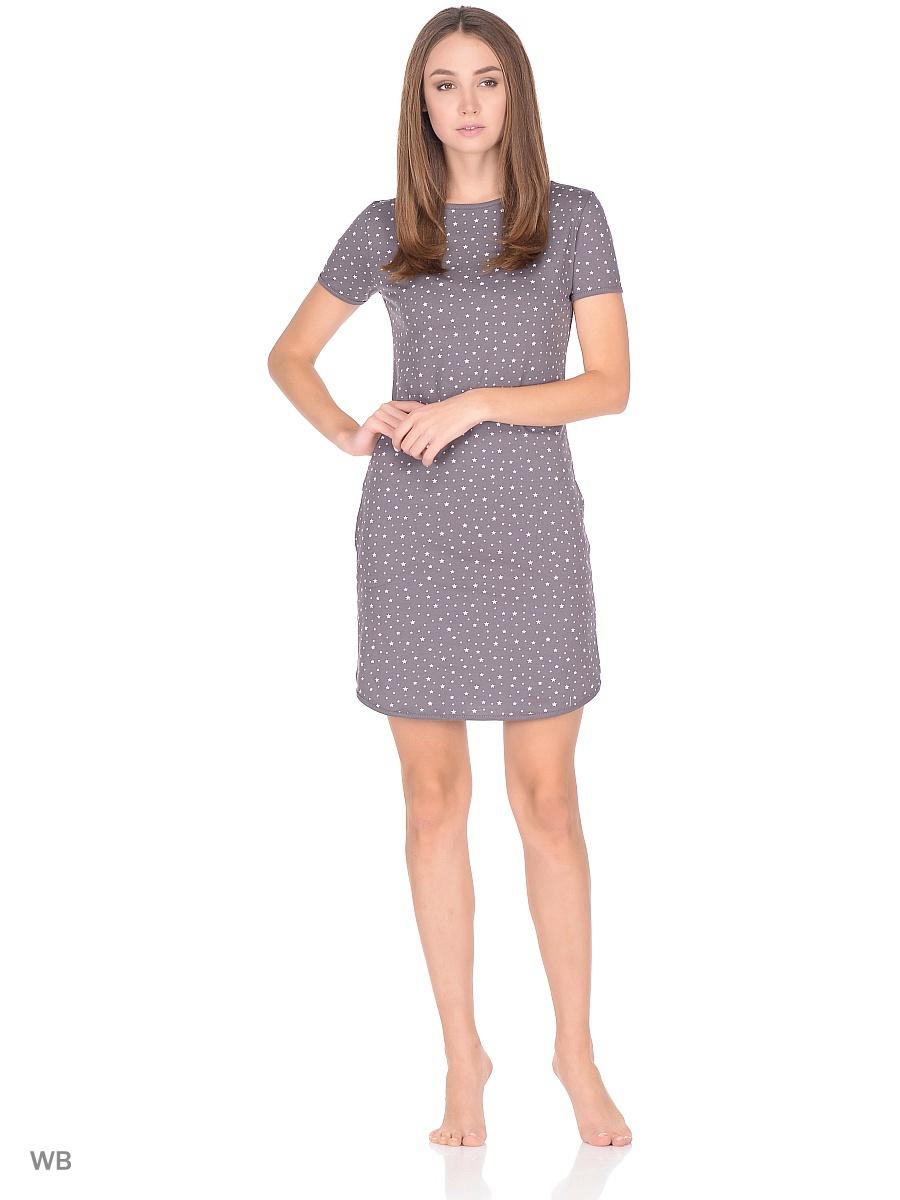 Платье домашнее женское Letto, цвет: серый. TFdm013. Размер 44TFdm013Домашнее слегка приталенное платье от Letto с двумя боковыми карманами и короткими рукавами. Отлично подойдет для повседневного использования дома или на даче.