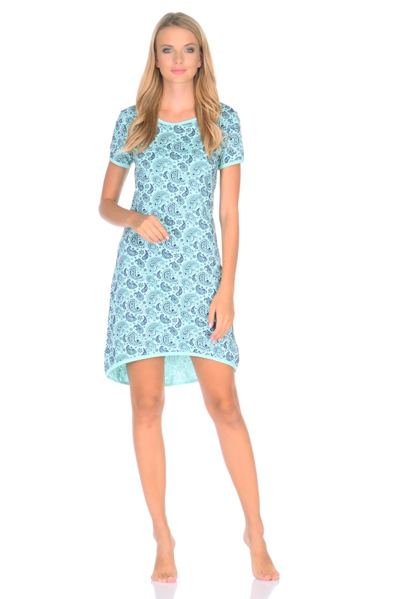Рубашка ночная женская Letto, цвет: зеленый. TFnm011. Размер 42TFnm011Ночная сорочка от Letto нежной расцветки, выполненная из 100% хлопка. Модель свободного кроя с короткими рукавами.