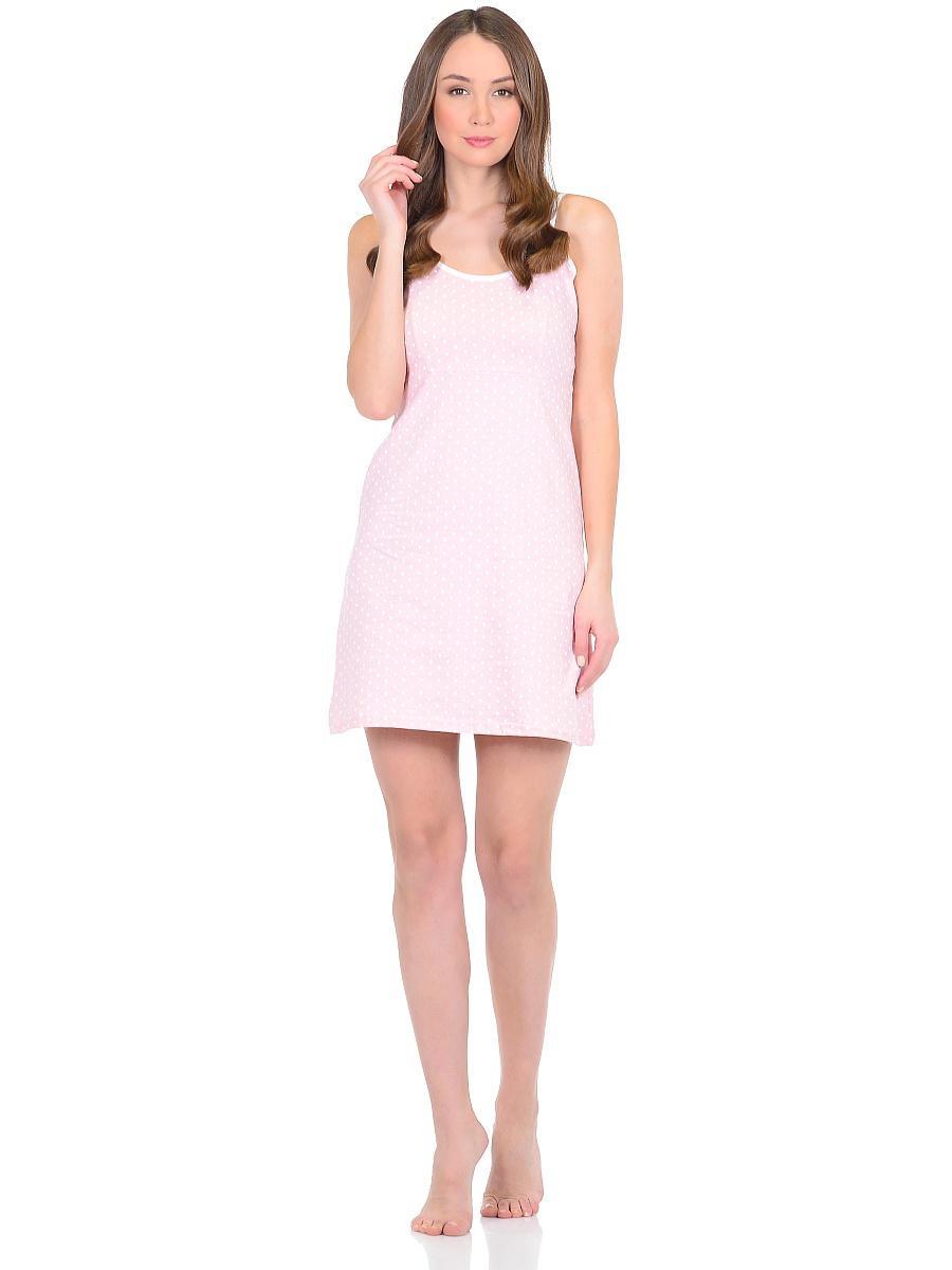 Рубашка ночная женская Letto, цвет: розовый. TFnn003. Размер 44TFnn003Ночная рубашка от Letto нежной расцветки, выполненная из 100% хлопка. Модель свободного кроя на тоненьких бретельках.