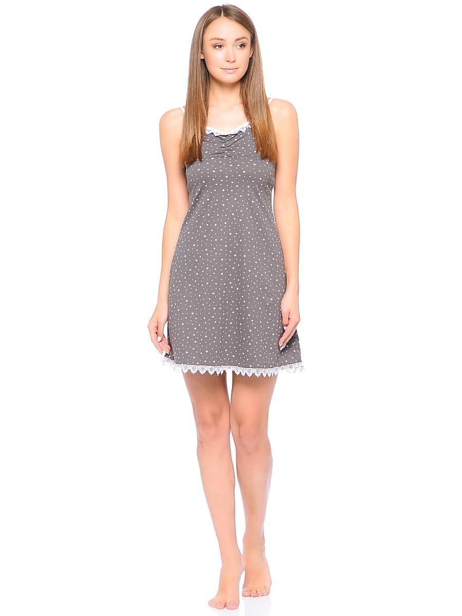 Рубашка ночная женская Letto, цвет: серый. TFnn005. Размер 52 ночная рубашка женская коллекция цвет темно синий осрн 18 размер 56