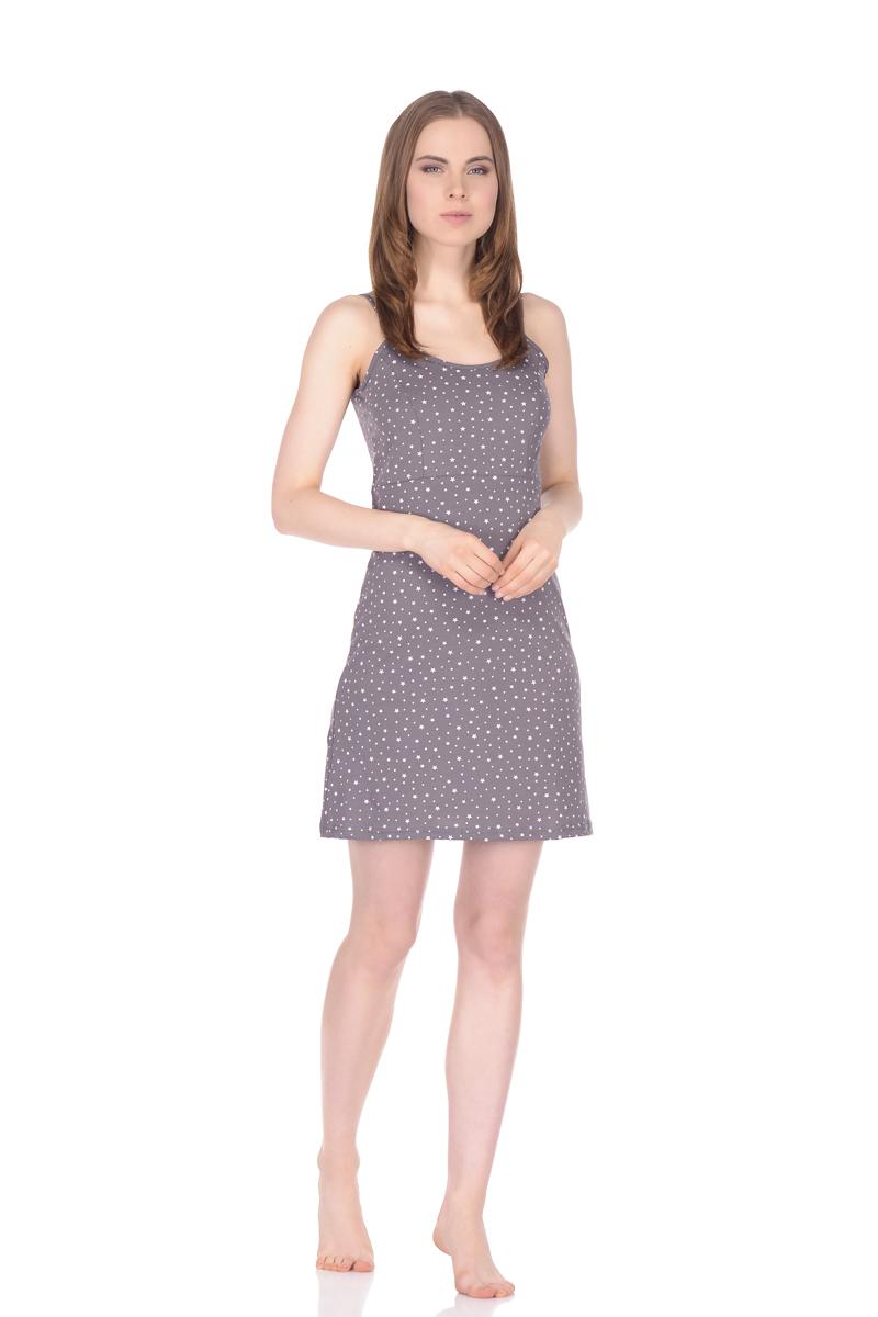 Рубашка ночная женская Letto, цвет: серый. TFnn011. Размер 44TFnn011Ночная рубашка от Letto нежной расцветки, выполненная из 100% хлопка. Модель свободного кроя на тоненьких бретельках.