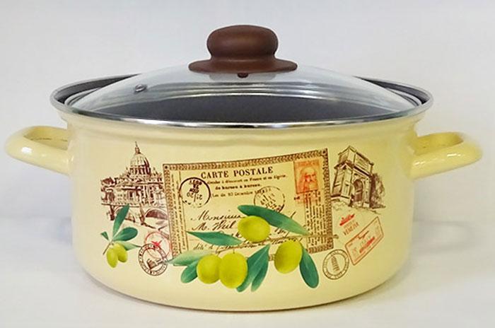 Кастрюля-сотейник Лысьвенские эмали Римские каникулы, с крышкой, 2 л салатник лысьвенские эмали ласковый май с крышкой 2 л