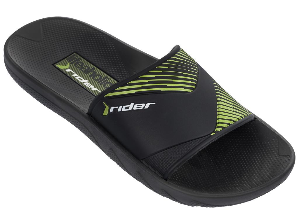 Шлепанцы мужские Rider Montreal II AD, цвет: черный, зеленый. 82325-21675. Размер 45/46 (44/45)82325-21675Этот гладкий слайд повторяет контуры стопы, имеет текстурированную стельку и цельный верх с лаконичным принтом.