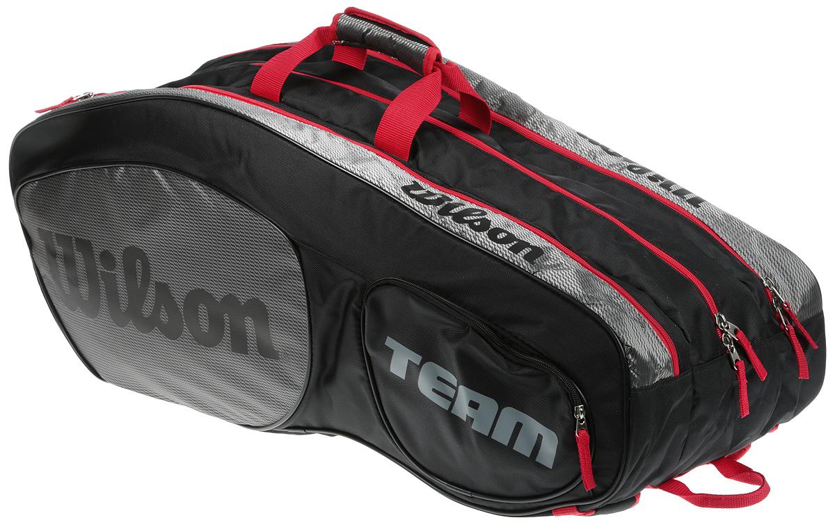 Сумка для теннисных ракеток Wilson Team Iii 12 Pack BkgyWRZ853812Созданная специально по шаблону классической коллекции Tour Collection,сумка Team II вмещает до 12 ракеток и обеспечивает дополнительное место хранения с 2 большими и просторными карманами под аксессуары.