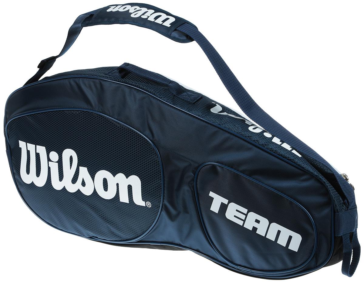 Сумка для теннисных ракеток Wilson Team Iii 3 Pack BlwhWRZ850803Созданная специально по шаблону классической коллекции Tour Collection,сумка Team II вмещает до 3 ракеток и обеспечивает дополнительное место хранения с 1 большим и просторным карманом под аксессуары.
