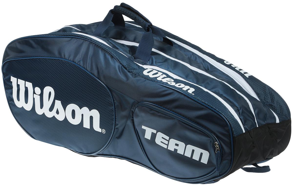 Сумка для теннисных ракеток Wilson Team Iii 12 Pack BlwhWRZ850812Созданная специально по шаблону классической коллекции Tour Collection,сумка Team II вмещает до 12 ракеток и обеспечивает дополнительное место хранения с 2 большими и просторными карманами под аксессуары.