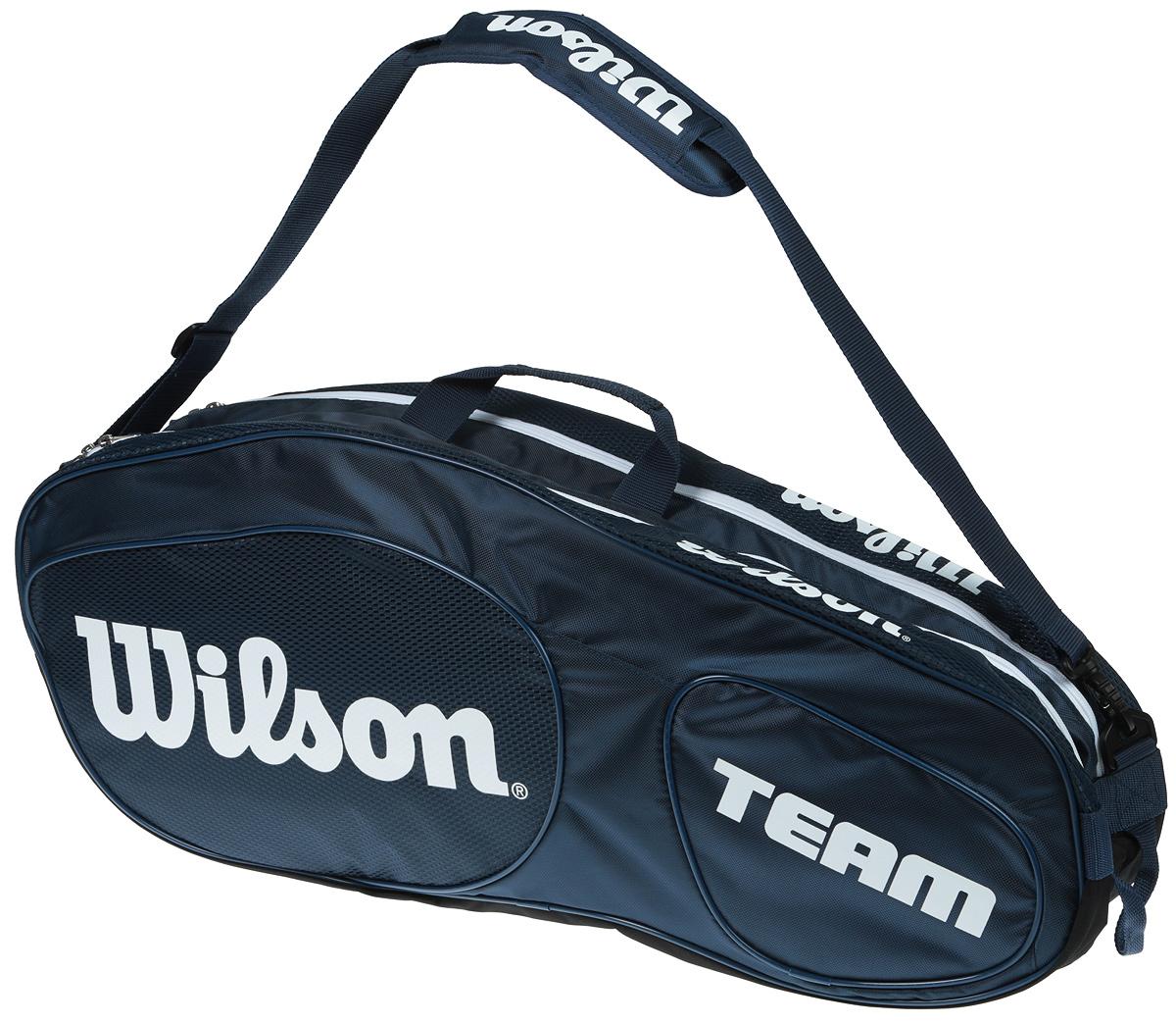 Сумка для теннисных ракеток Wilson Team Iii 6 Pack BlwhWRZ850806Созданная специально по шаблону классической коллекции Tour Collection,сумка Team II вмещает до 6 ракеток и обеспечивает дополнительное место хранения с 1 большим и просторным карманом под аксессуары.