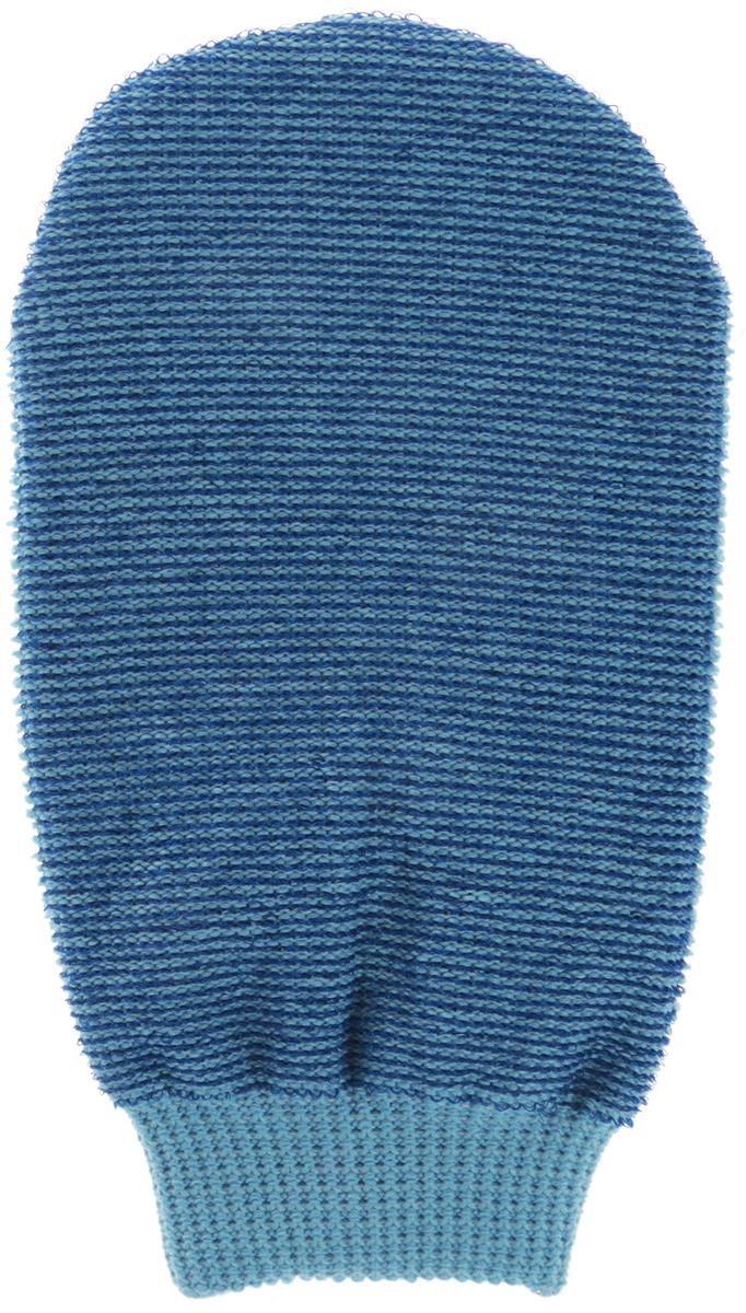 Riffi Мочалка-рукавица массажная, двухсторонняя, цвет: синий, голубой. 407