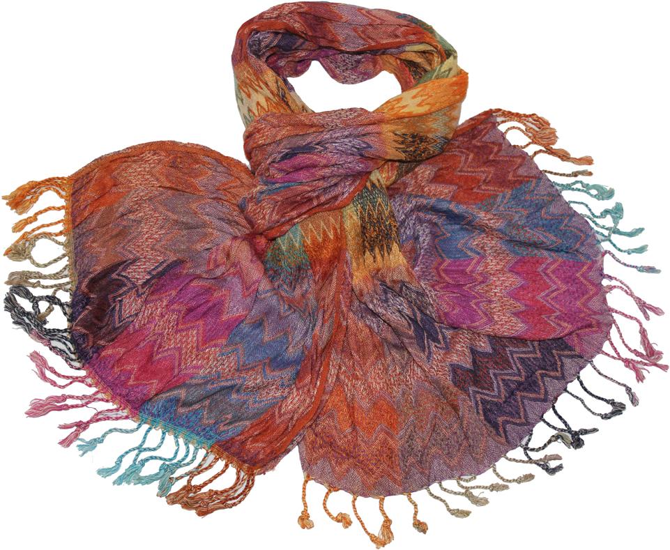 Шарф женский Ethnica, цвет: розовый, голубой. 68150. Размер 50 см x 170 см