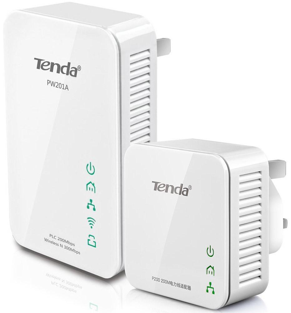Tenda PW201A+P200 комплект адаптеров PowerLine c Wi-FiPW201A+P200Адаптер PowerLine Tenda PW201A+P200 N300 комплект адаптеров PowerLine c Wi-Fi