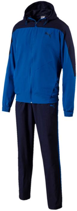 Костюм спортивный мужской Puma Active Vent Woven Suit Op, цвет: лазурный, синий. 59485090. Размер XL (50/52)59485090Костюм спортивный мужской Active Vent Woven Suit Op отлично подойдет для тренировок, он обеспечит свободу движений и комфорт во время занятий. Костюм выполнен из 100% полиэстера. Куртка застегивается на молнию, декорирована логотипом PUMA, нанесенным методом пигментной печати и имеет удобную стандартную посадку. В местах возможного перегрева и натяжения материала имеются вставки из эластичной сетки, что создает отличную вентиляцию. Швы с нахлестом вперед и особый спортивный покрой обеспечивают свободу движений, как и отделка эластичным материалом пояса и манжет. Капюшон снабжен затягивающимся шнуром для изменения его объема. Брюки декорированы логотипом PUMA, нанесенным методом пигментной печати, и посажены на пояс с эластичной подкладкой и внутренним затягивающимся шнуром. Штанины элегантно заужены книзу.
