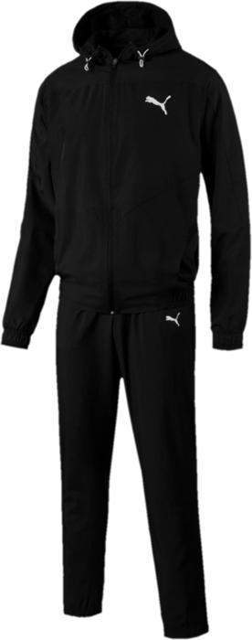 Костюм спортивный мужской Puma Active Vent Woven Suit Op, цвет: черный. 59485001. Размер XL (50/52)59485001Костюм спортивный мужской Active Vent Woven Suit Op отлично подойдет для тренировок, он обеспечит свободу движений и комфорт во время занятий. Костюм выполнен из 100% полиэстера. Куртка застегивается на молнию, декорирована логотипом PUMA, нанесенным методом пигментной печати и имеет удобную стандартную посадку. В местах возможного перегрева и натяжения материала имеются вставки из эластичной сетки, что создает отличную вентиляцию. Швы с нахлестом вперед и особый спортивный покрой обеспечивают свободу движений, как и отделка эластичным материалом пояса и манжет. Капюшон снабжен затягивающимся шнуром для изменения его объема. Брюки декорированы логотипом PUMA, нанесенным методом пигментной печати, и посажены на пояс с эластичной подкладкой и внутренним затягивающимся шнуром. Штанины элегантно заужены книзу.