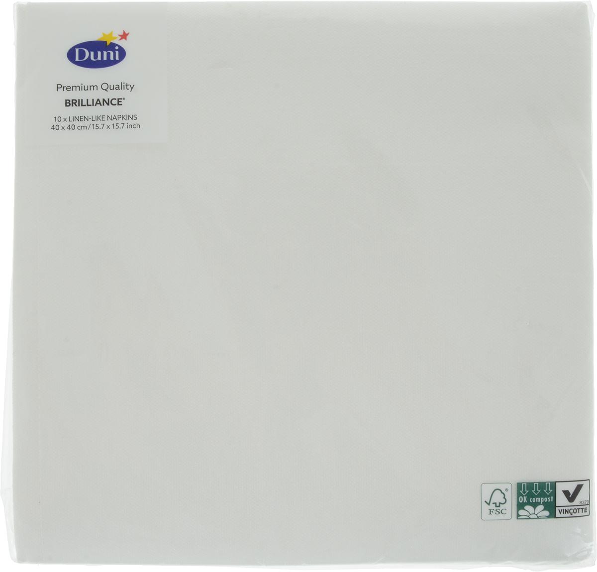 Салфетки бумажные Duni Lin. Brilliance, цвет: белый, 40 x 40 см салфетки duni салфетки d lin 40cm brilliance white