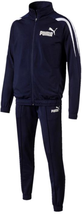 Костюм спортивный мужской Puma Sports Tricot Suit CL., цвет: синий. 59484506. Размер XL (50/52)59484506Костюм спортивный мужской Sports Tricot Suit CL отлично подойдет для тренировок, он обеспечит свободу движений и комфорт во время занятий. Костюм выполнен из 100% полиэстера. Куртка застегивается на молнию, декорирована графическим рисунком, нанесенным методом пигментной печати и логотипом PUMA, нанесенным методом пигментной печати. Удобная стандартная посадка дополняется отделкой пояса и манжет эластичным материалом. Брюки декорированы логотипом PUMA, нанесенным методом пигментной печати, и посажены на пояс с эластичной подкладкой и внутренними затягивающимися шнурами. Манжеты по низу зауженных штанин отделаны эластичным материалом.