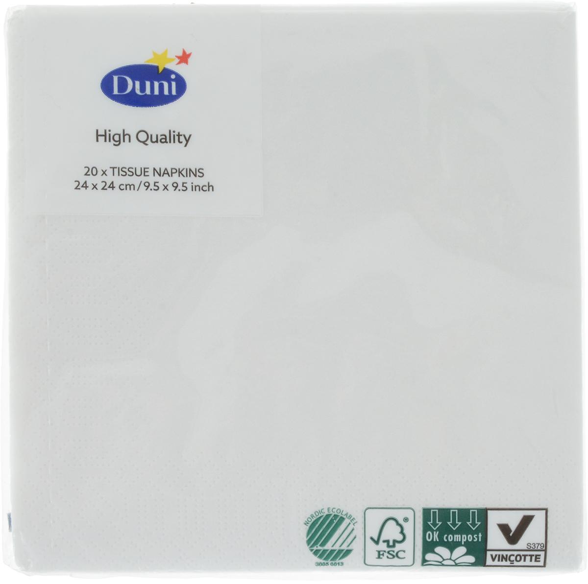 Салфетки бумажные Duni, 3-слойные, цвет: белый, 24 х 24 см, 20 шт104029Трехслойные бумажные салфетки изготовлены из экологически чистого, высококачественного сырья - 100% целлюлозы. Салфетки выполнены в оригинальном и современном стиле, прекрасно сочетаются с любым интерьером и всегда будут прекрасным и незаменимым украшением стола.