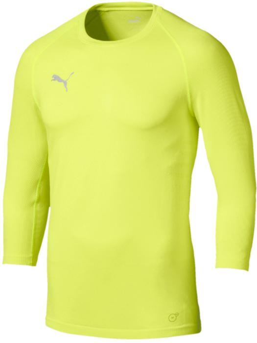 Лонгслив мужской Puma ftblNXT 3 4 Baselayer, цвет: желтый. 65568304. Размер S (44/46)65568304Лонгслив Puma ftblNXT 3 4 Baselayer изготовлен из высоко функционального материала dryCELL с компрессионным эффектом. Декорирован логотипом PUMA на правой стороне груди и графическим рисунком в виде полос. Бесшовный покрой, поддерживающий мышцы, дополняется вставками из сетчатого материала на рукавах и плече, обеспечивающими отличную вентиляцию. Подходит на все случаи жизни! Коллекция футбольной экипировки ftblNXT гарантирует максимум удобства для футболистов в дни матчей, на тренировках и на отдыхе.