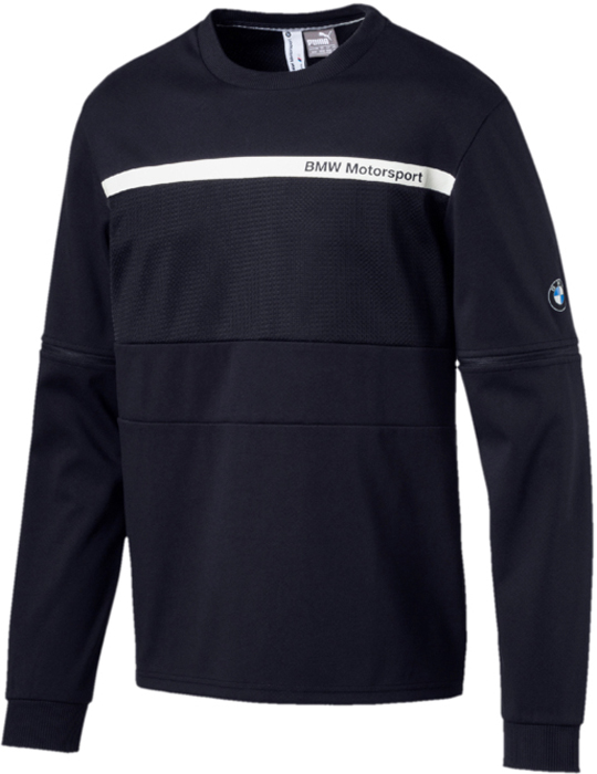 Свитшот мужской Puma BMW MS Night Cat Crew Neck, цвет: темно-синий. 57525701. Размер L (48/50) crew neck vertical stripe color block kink knit blends sweater