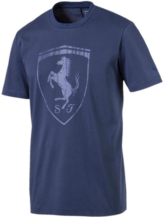Футболка мужская Puma Ferrari Big Shield Tee, цвет: синий. 57524107. Размер XXL (52/54) футболка мужская puma rebel basic tee цвет белый 85055402 размер xxl 52 54