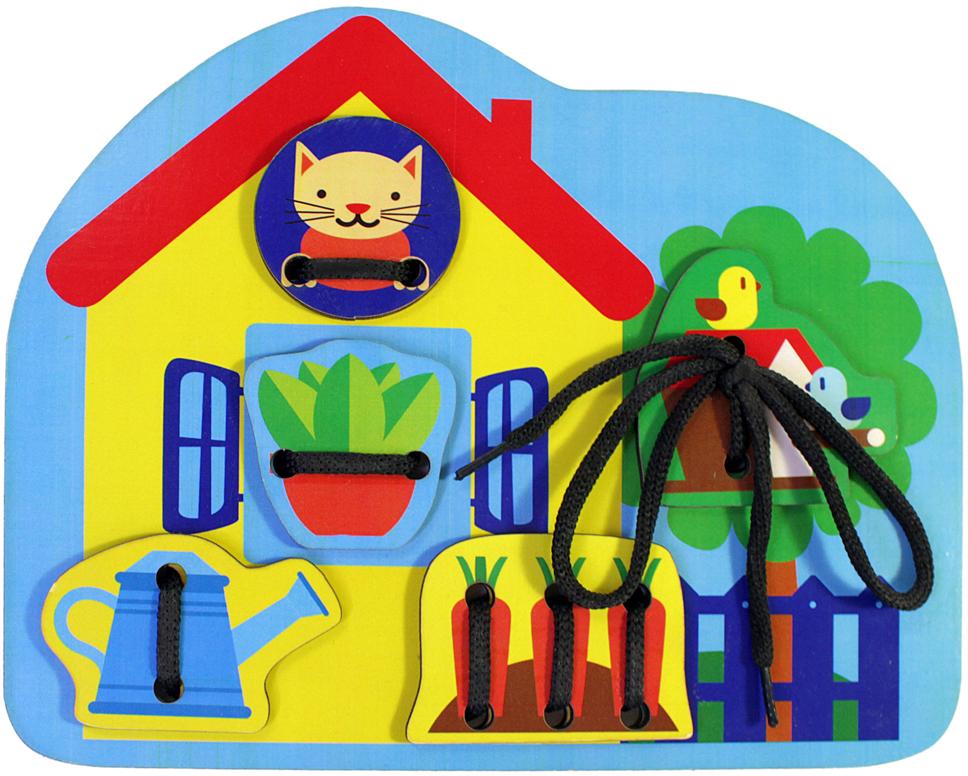 Фабрика Мастер игрушек Игра-шнуровка Домик мастер вуд игра шнуровка пуговичка цвет синий желтый