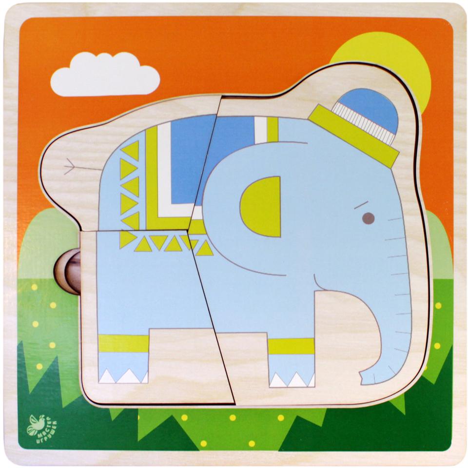 Фабрика Мастер игрушек Пазл многоуровневый Слоники фабрика мастер игрушек пазл для малышей алфавит русский пазл