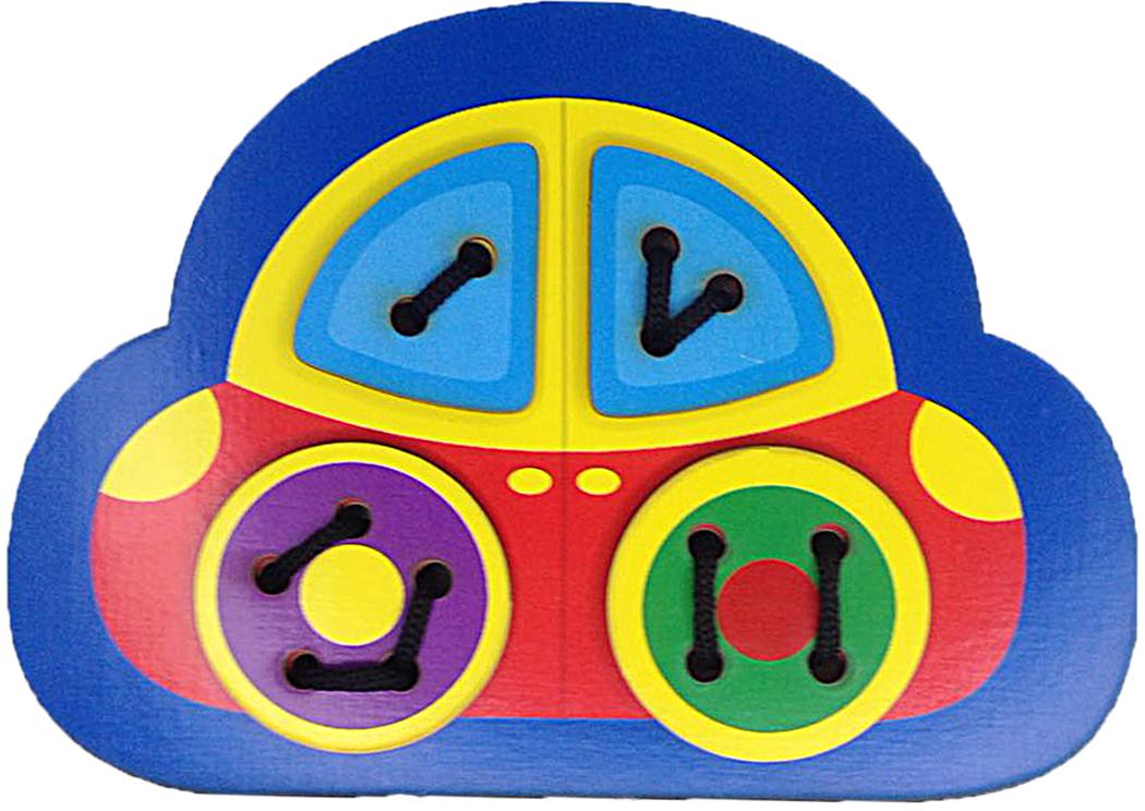 Фабрика Мастер игрушек Игра-шнуровка Машинка мастер вуд игра шнуровка пуговичка цвет синий желтый