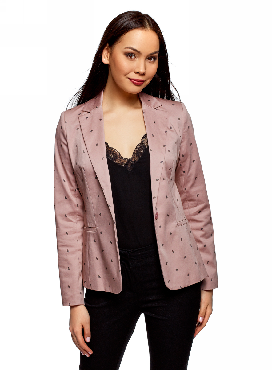 Жакет женский oodji Collection, цвет: розовый. 21203064-5B/14522/4A29O. Размер 38 (44-170)
