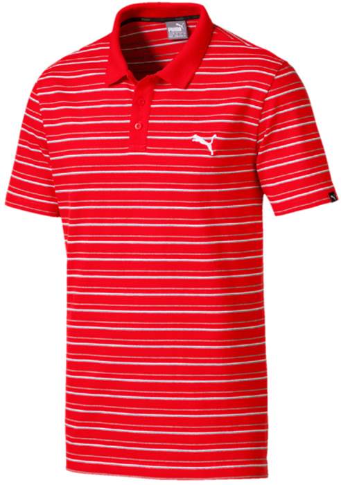 Поло мужское Puma Ess Sports Stripe Pique Polo, цвет: красный. 85013242. Размер M (46/48)
