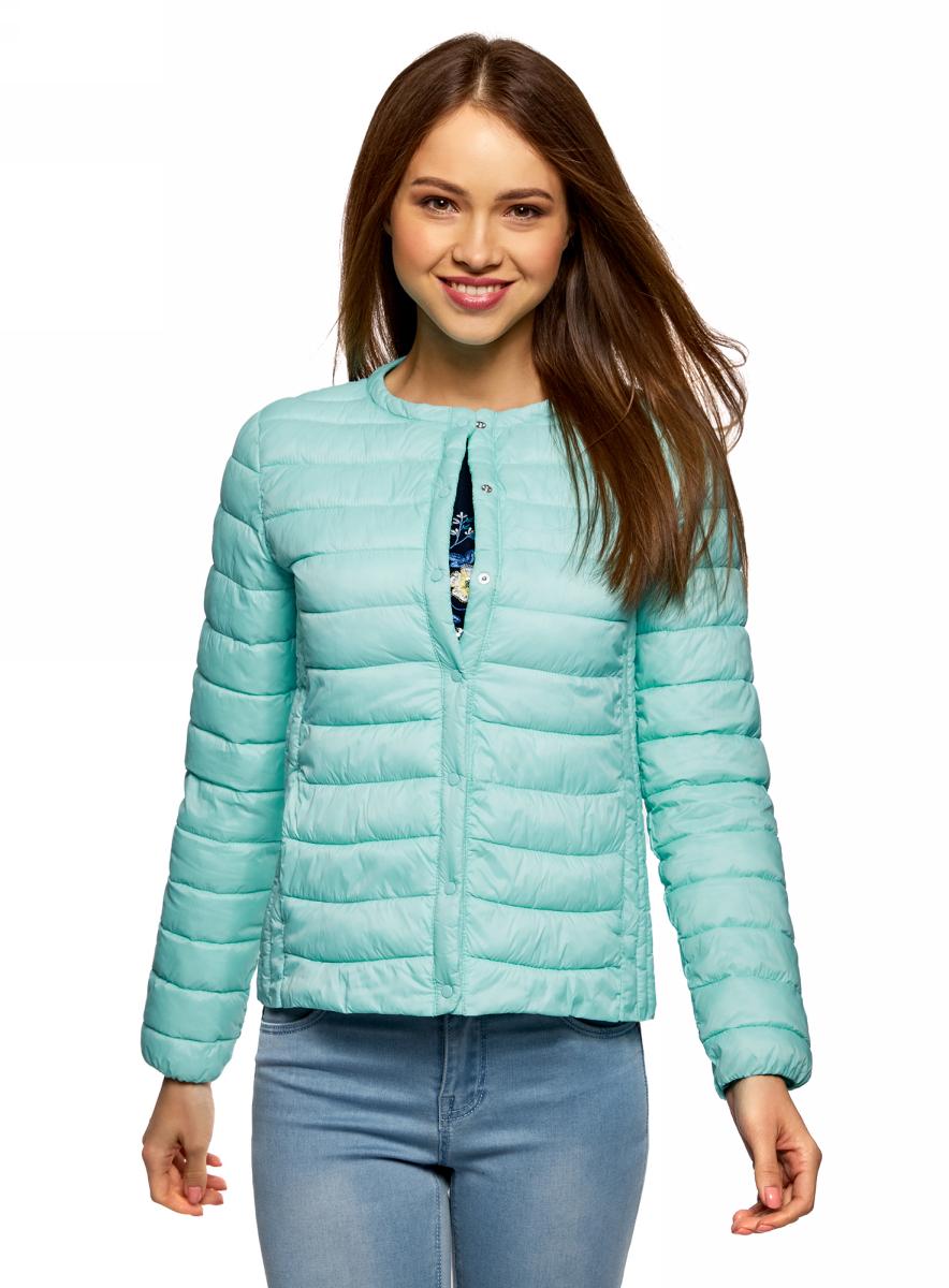 Куртка женская oodji Ultra, цвет: бирюзовый. 10204040B/45638/7301N. Размер 38 (44-170)10204040B/45638/7301NЖенская куртка oodji c длинными рукавами выполнена из прочного полиамида. Модель застегивается на застежку-молнию и кнопки.