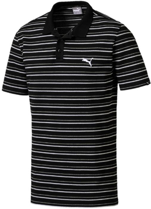 Поло мужское Puma Ess Sports Stripe Pique Polo, цвет: черный. 85013201. Размер XL (50/52)