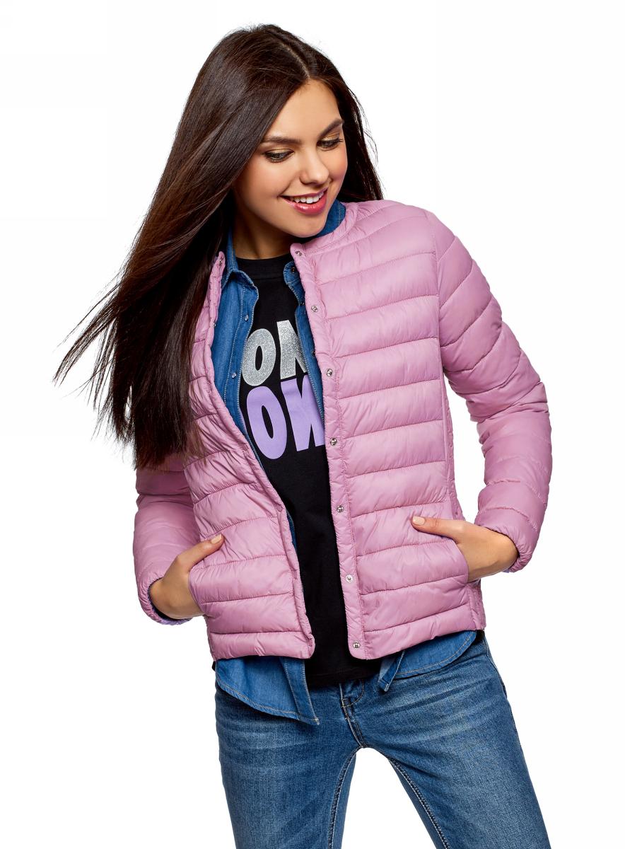 Куртка женская oodji Ultra, цвет: сиреневый. 10204040B/45638/8000N. Размер 42 (48-164)10204040B/45638/8000NЖенская куртка oodji c длинными рукавами выполнена из прочного полиамида. Модель застегивается на застежку-молнию и кнопки.