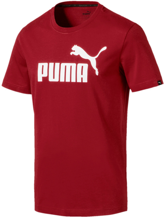 Футболка мужская Puma ESS No.1 Tee, цвет: темно-красный. 83824189. Размер S (44/46)83824189Футболка Puma ESS No.1 Tee выполнена из натурального хлопка. Модель с круглым вырезом горловины и короткими рукавами декорирована логотипом Puma, нанесенным методом пигментной печати, и силиконовым логотипом бренда. Также имеется тканый ярлык с символикой Puma. Ворот отделан тесьмой контрастного цвета.