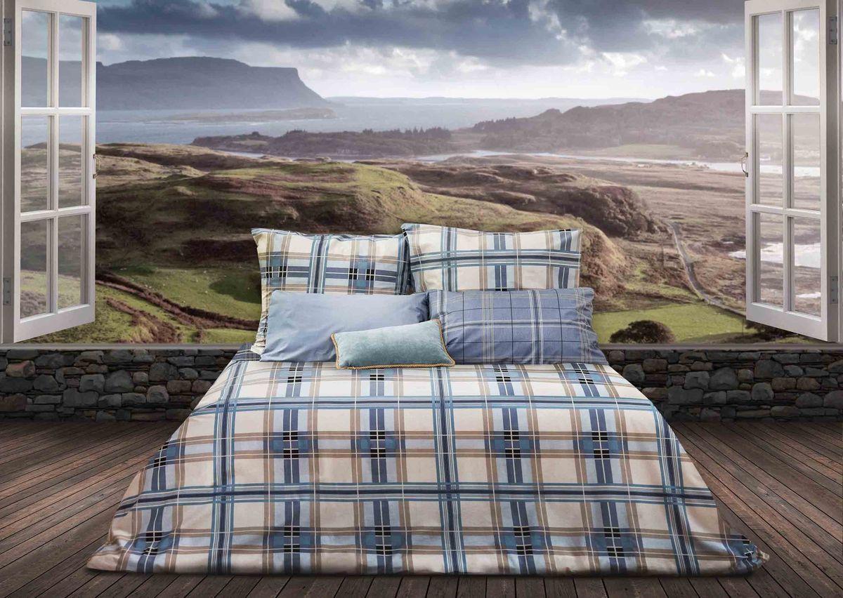 Комплект белья Sova & Javoronok Герой Шотландии, 2-спальный, наволочки 70х70, цвет: белый, голубой линолеум start sugar oak 216 l 3 5м 1 9мм 0 4мм