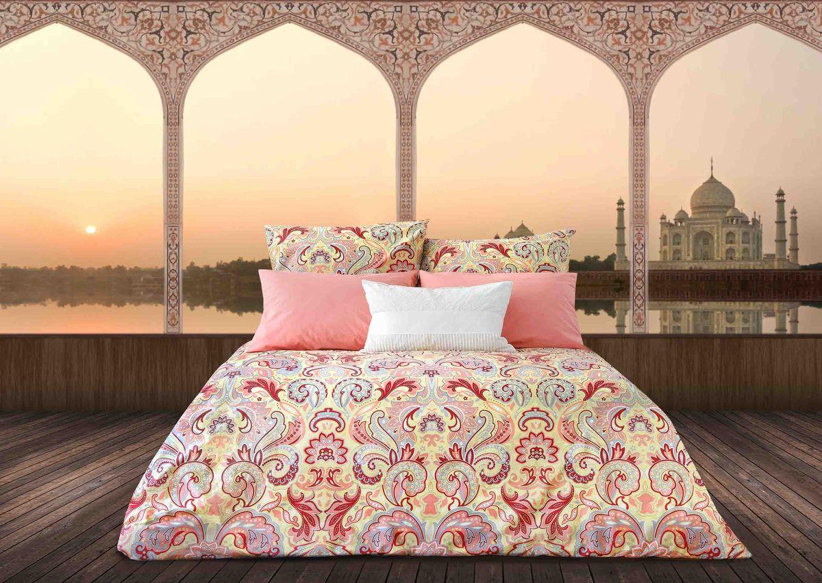 Комплект белья Sova & Javoronok Жемчужина Индии, 2-спальный, наволочки 70х70, цвет: коралловый кпб шедевр р 1 5 сп