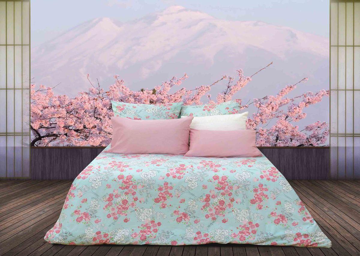 Комплект белья Sova & Javoronok Японский сад, семейный, цвет: голубой, наволочки 70х70 комплект постельного белья quelle sova
