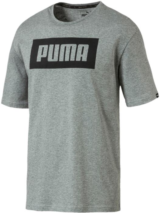 Футболка мужская Puma Rebel Basic Tee, цвет: серый. 85055403. Размер XL (50/52) футболка мужская puma rebel basic tee цвет белый 85055402 размер xxl 52 54