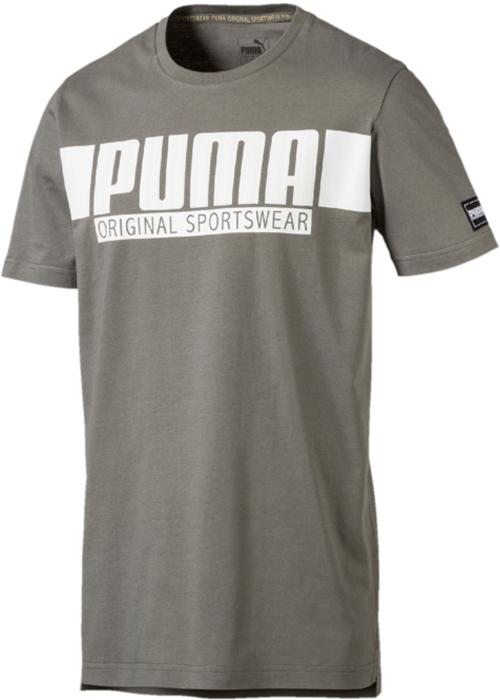 Купить Футболка мужская Puma Style Athletics Graphic Tee, цвет: серый, зеленый. 85002839. Размер M (46/48)