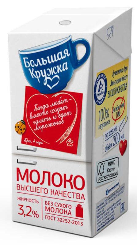 Большая кружка Молоко ультрапастеризованное, 3,2%, 200 мл145Большая кружка - это широкий ассортимент вкусных,полезных и качественных молочных продуктов, которые, как любовь во всем ее многообразии, делают гашу жизнь и нас самих лучше. Молочные продукты Большая кружка помогают нам дарить любовь родным и близким, делая каждый наш день ярче и вкуснее.