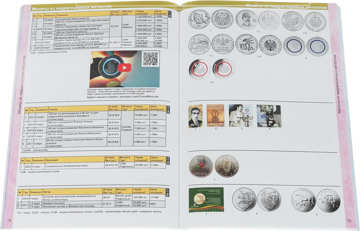 Каталог монет из недрагоценных металлов и банкнот Евро 1999-2019 (с ценами).