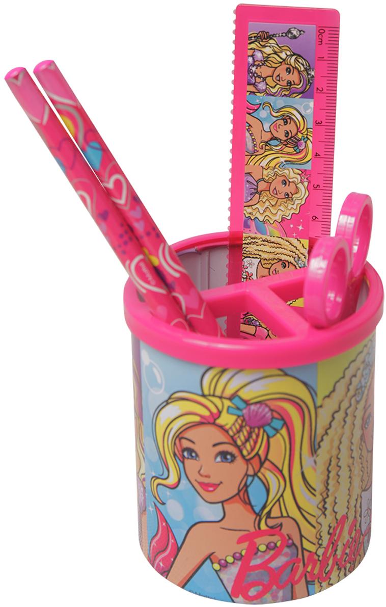 Mattel Настольный канцелярский набор Barbie 4 предмета цвет розовый52003092Канцелярский набор Barbie станет незаменимым атрибутом в учебе любой школьницы. Онвключает в себя пластиковую подставку, 2 чернографитных карандаша, пластиковую линейку иножницы. Все предметы набора оформлены изображениями Барби.