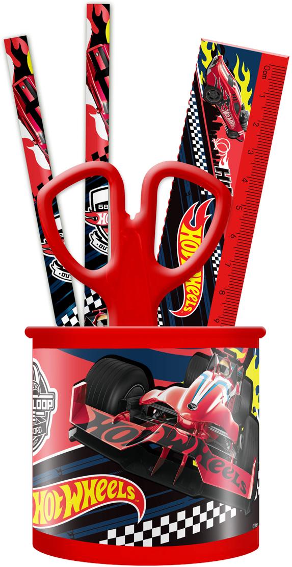 Mattel Настольный канцелярский набор Hot Wheels 4 предмета цвет красный -  Канцелярские наборы
