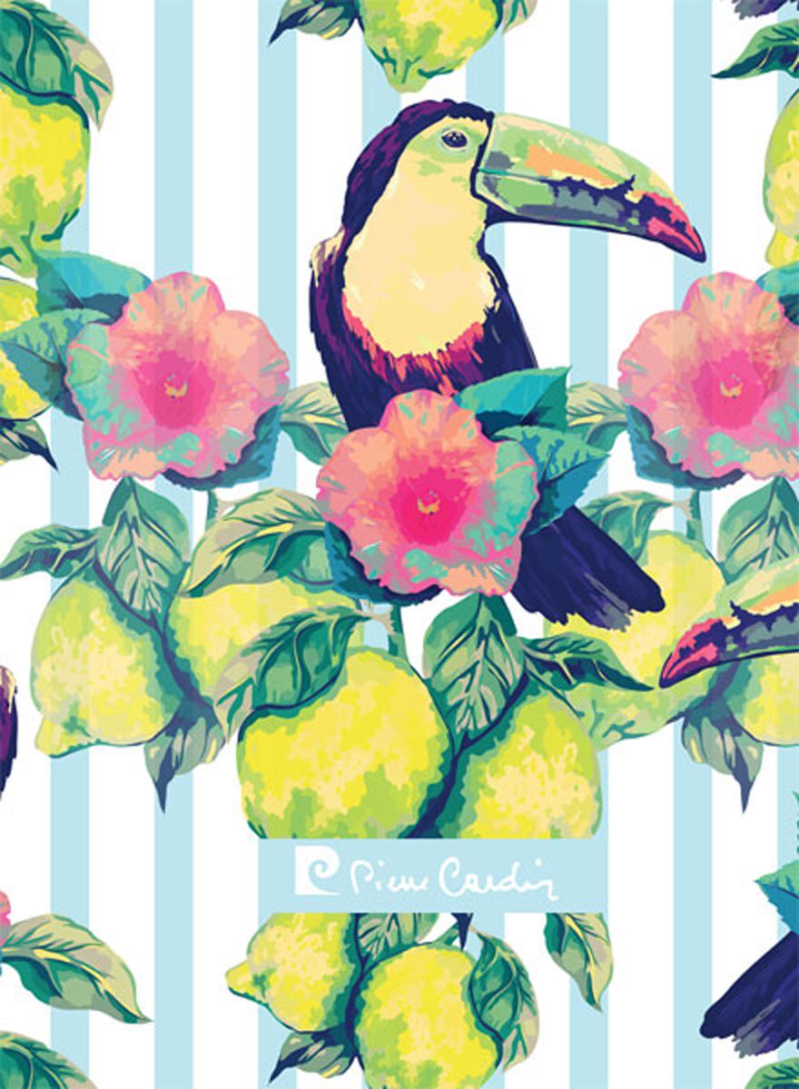 Pierre Cardin Блокнот Tropic Exotic 80 листов в клетку цвет разноцветный формат A6 папки канцелярские pierre cardin папка каталог 40 листов geometrie pink
