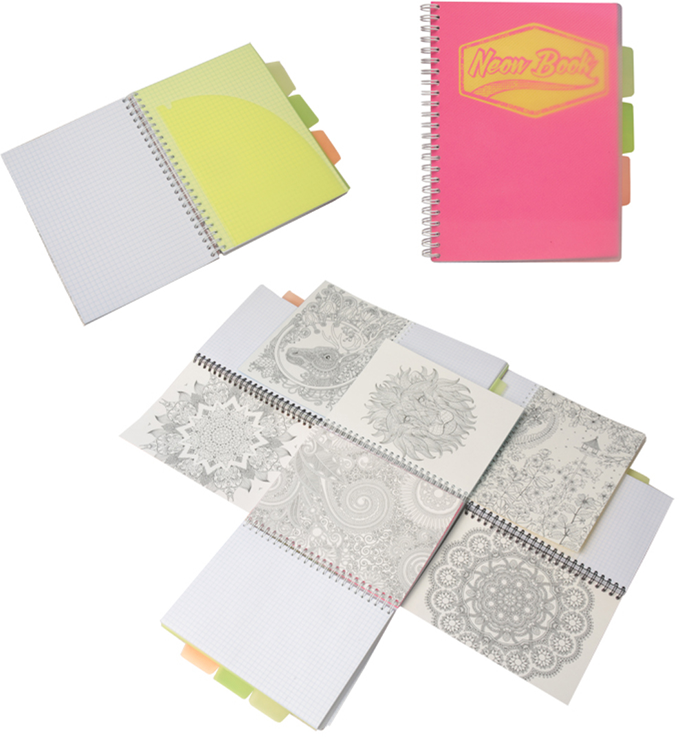 Expert Complete Тетрадь Neon Book 120 листов в клетку цвет розовый формат A595124Тетрадь Neon Book подойдет как студенту, так и школьнику старших классов, дизайн тетрадипредставлен в неоновых цветах. Обложка тетради выполнена из прочного пластика, котораязащищает блок от заломов, позволяют писать на весу. Тетрадь дополнена тремя цветнымипластиковыми разделителями с карманами для хранения, что поможет использовать тетрадьдля нескольких предметов одновременно или просто структурировать информацию. Внутреннийблок тетради состоит из 120 листов в клетку, офсетная бумага плотностью 60г/м2. Раскраска- антистресс - на оборотной поможет в развитии творчества и воображения.