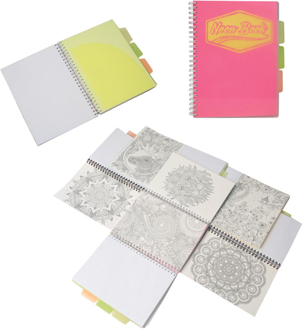 Expert Complete Тетрадь Neon Book 120 листов в клетку цвет розовый формат A5 expert complete тетрадь neon concept 96 листов в клетку 2 блока цвет зеленый формат a5 набор наклеек