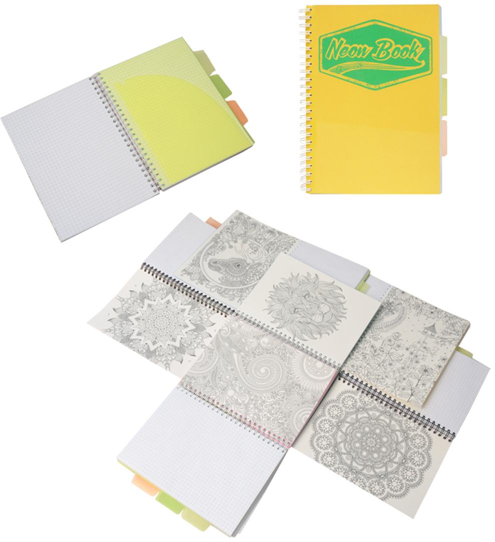 Expert Complete Тетрадь Neon Book 120 листов в клетку цвет желтый формат A595125Тетрадь Neon Book подойдет как студенту, так и школьнику старших классов, дизайн тетрадипредставлен в неоновых цветах. Обложка тетради выполнена из прочного пластика, котораязащищает блок от заломов, позволяют писать на весу. Тетрадь дополнена тремя цветнымипластиковыми разделителями с карманами для хранения, что поможет использовать тетрадьдля нескольких предметов одновременно или просто структурировать информацию. Внутреннийблок тетради состоит из 120 листов в клетку, офсетная бумага плотностью 60г/м2. Раскраска- антистресс - на оборотной поможет в развитии творчества и воображения.